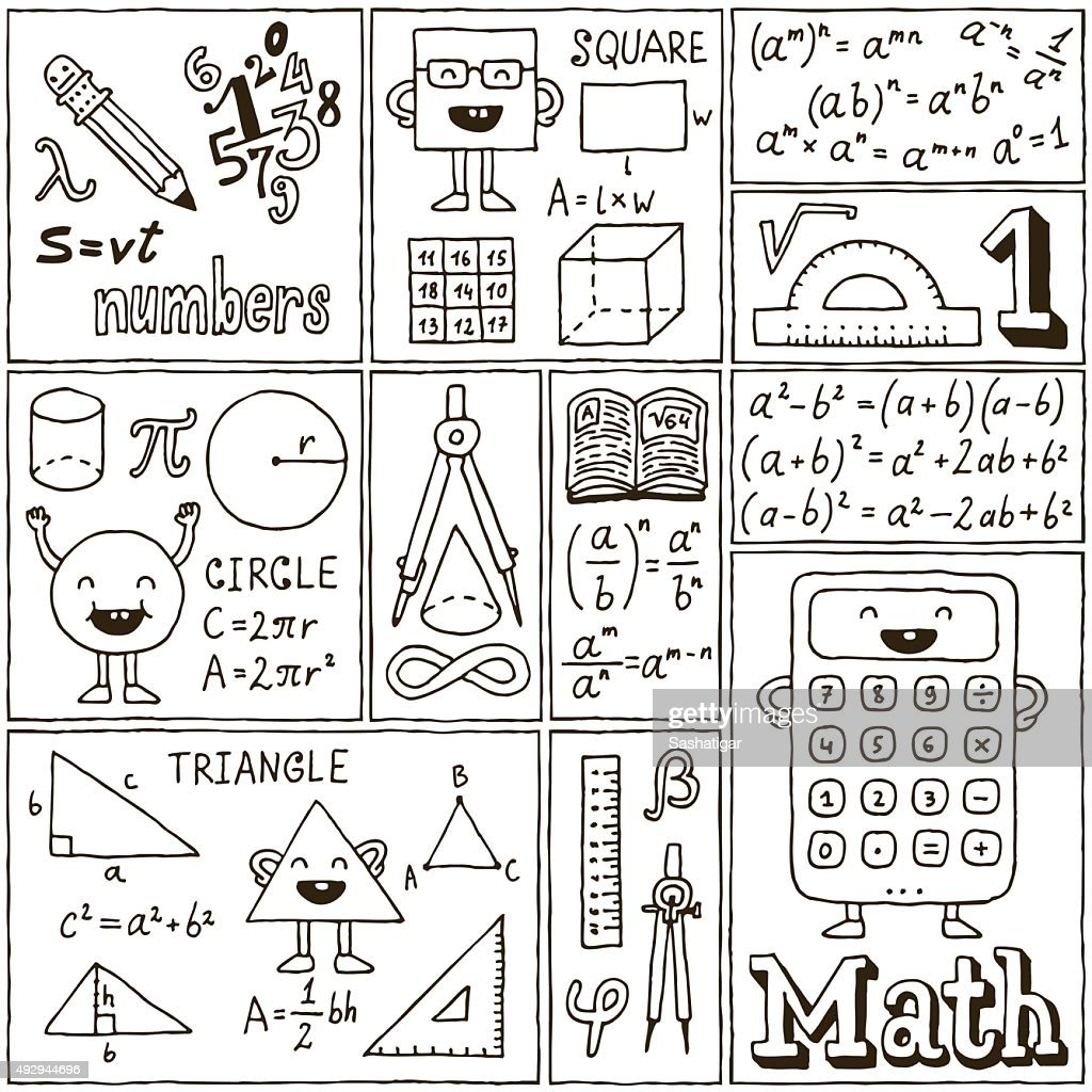 Math Science Banners set. Hand Drawn Vector Illustrations.