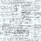 Math seamless pattern handwritten on a grid copybook paper, various operations and step by step solutions. Geometry, math, physics, electronic engineering subjects. Lectures. Lesson record. Blue grid.