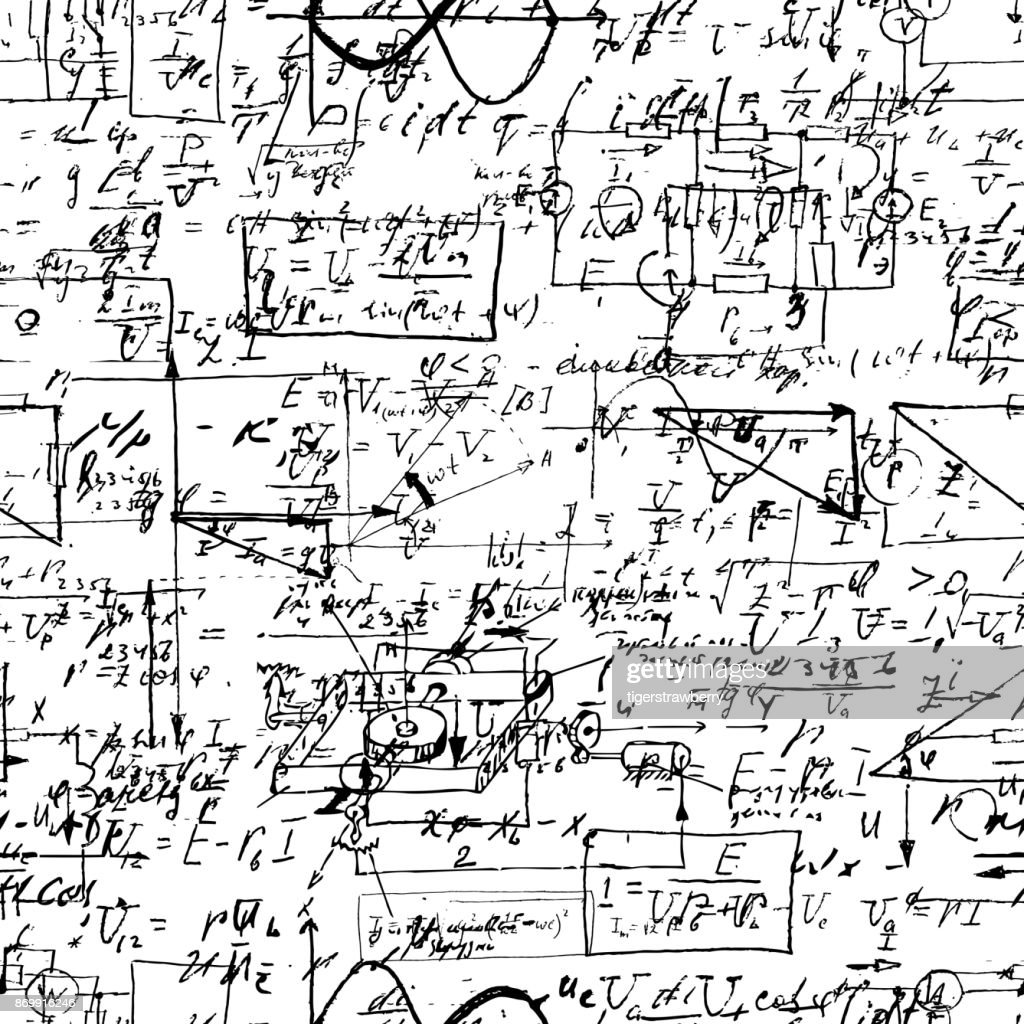 Math seamless pattern with handwriting of various operations and step by step solutions. Geometry, math, physics, electronic engineering subjects. Lectures. Endless natural hand writing on white.