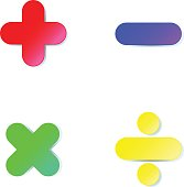 Math symbol : plus,minus,multiply,divide in colorful paper cut on white background