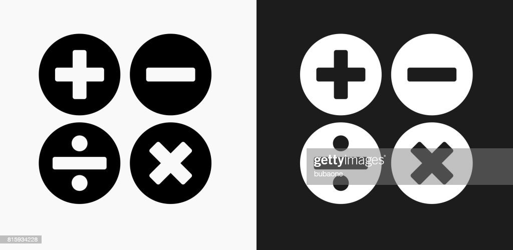 Math Symbols Icon On Black And White Vector Backgrounds Art