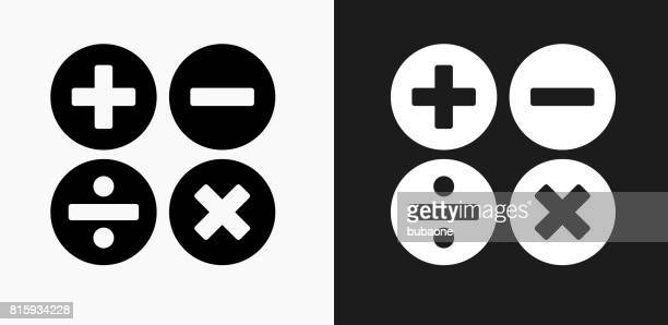 Math Symbols Icon on Black and White Vector Backgrounds