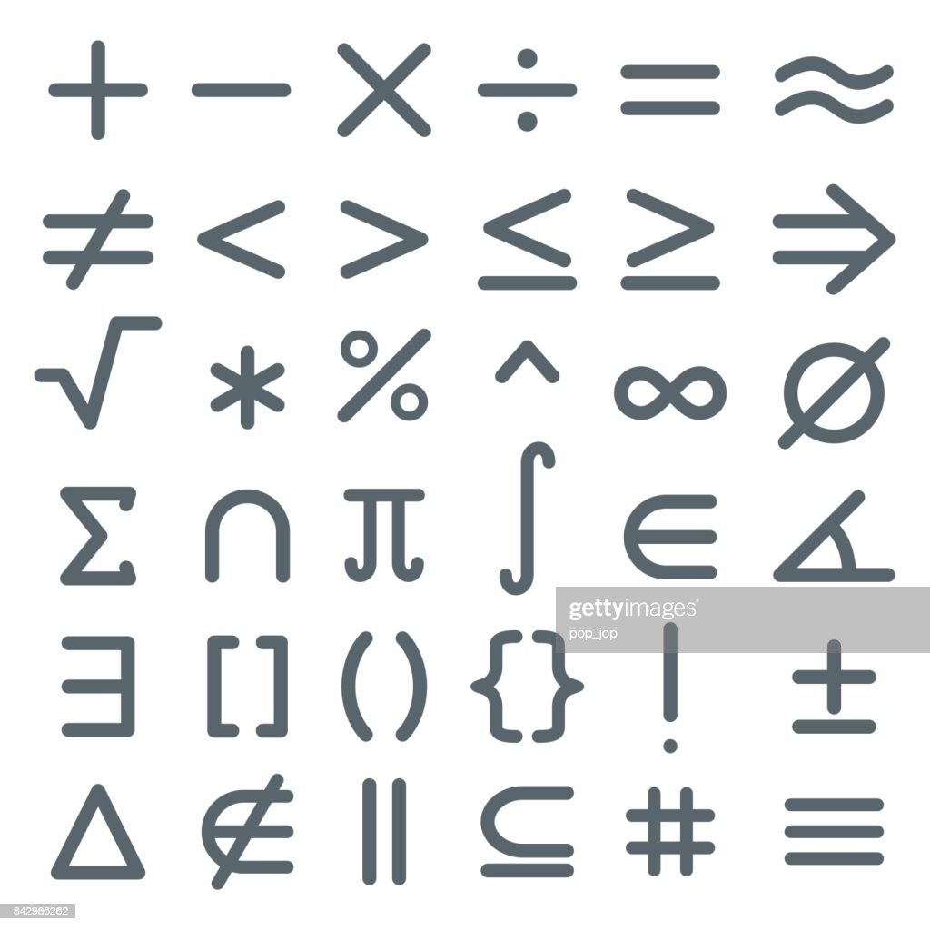 Math Symbols Mathematic Icon Set Vector Art Getty Images