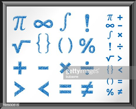 Math Symbols On White Board Vector Art Getty Images