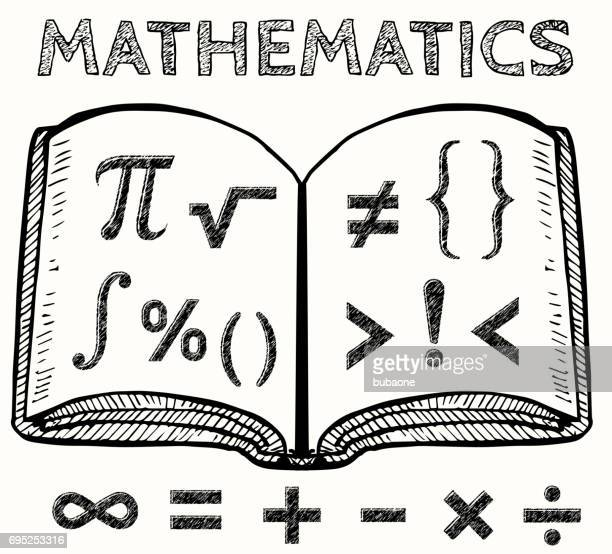 Math Symbols with Book Vector Illustration