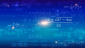 Mathematical formulas. Abstract blue background with Math equations floating on school blackboard. Vector 3D illustration. Symbol of study algebra, arithmetic, physics and exact Sciences.