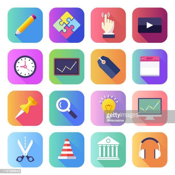 mathematische problemlösung flach glatten gradienten-stil-vektor-icons set - mobile app stock-grafiken, -clipart, -cartoons und -symbole