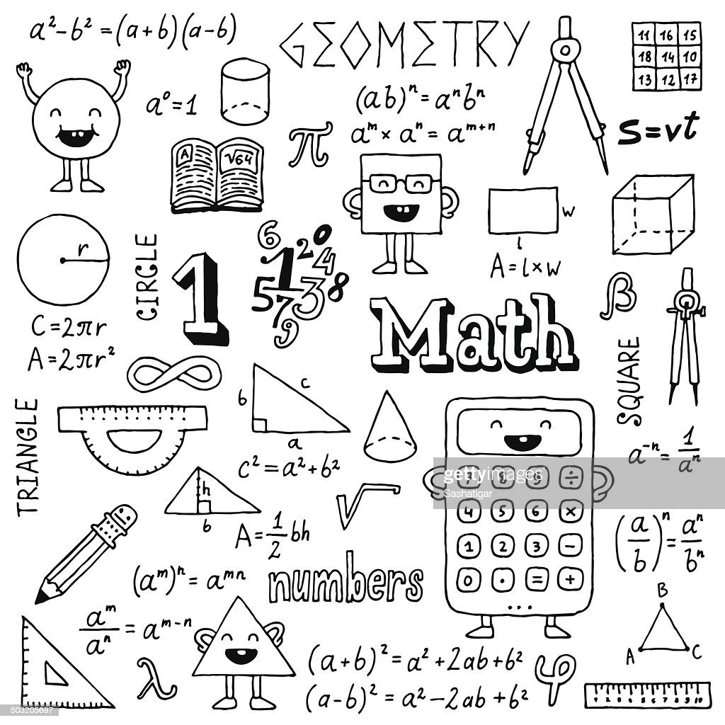 Mathematics. Hand drawn. Vector illustration. Black and White.