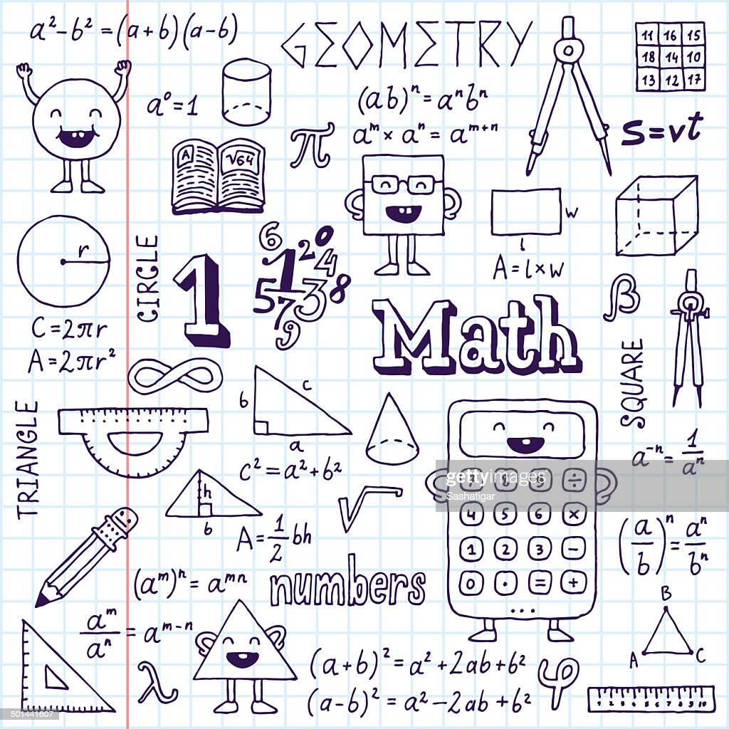 Mathematics. Hand drawn. Vector illustration. School notebook.