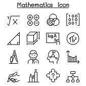 Mathematics icon set in thin line style
