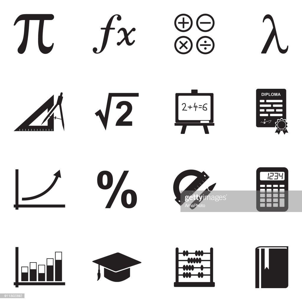 Mathematics Icons. Black Flat Design. Vector Illustration.