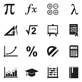 Mathematics Icons. Black Flat Design. Vector Illustration.