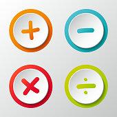 Mathematics symbols - set of 3d icons. Vector.