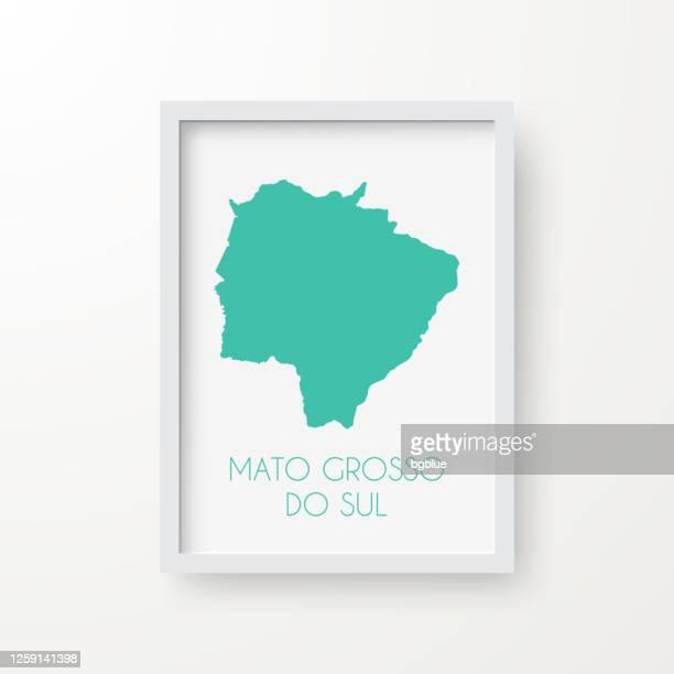 mato grosso do sul map in a frame on white background - mato grosso do sul state stock illustrations