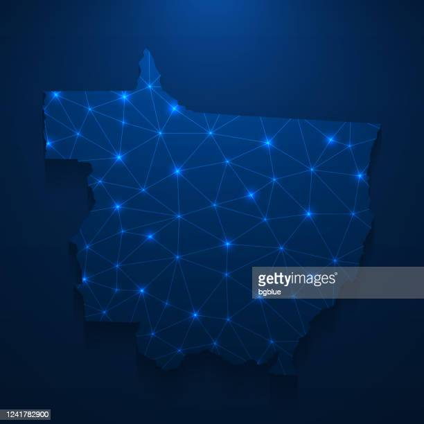 ilustrações de stock, clip art, desenhos animados e ícones de mato grosso map network - bright mesh on dark blue background - estado do mato grosso