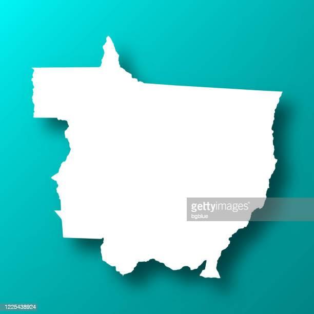 ilustrações de stock, clip art, desenhos animados e ícones de mato grosso map on blue green background with shadow - estado do mato grosso