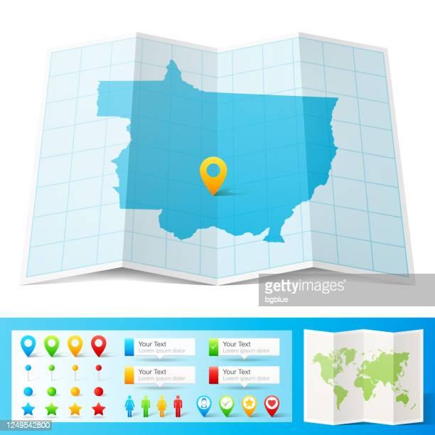 ilustrações de stock, clip art, desenhos animados e ícones de mato grosso map with location pins isolated on white background - estado do mato grosso
