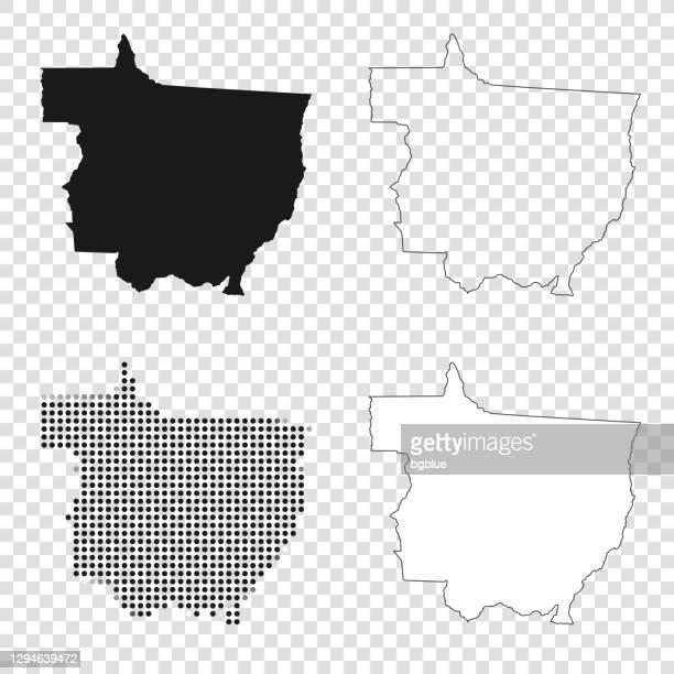 ilustrações de stock, clip art, desenhos animados e ícones de mato grosso maps for design - black, outline, mosaic and white - estado do mato grosso