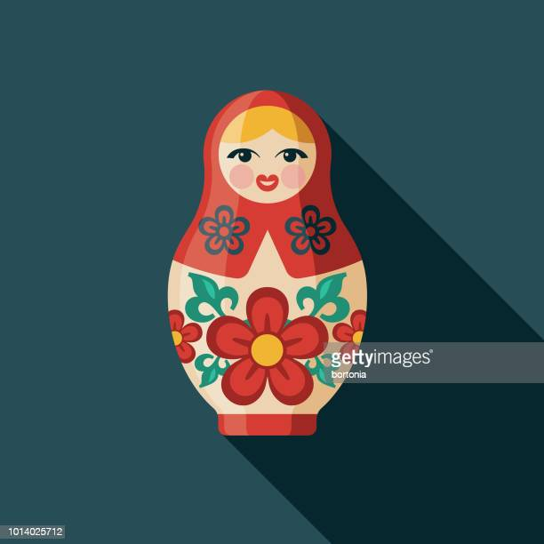 matroschka-puppe flach designikone russland - russland stock-grafiken, -clipart, -cartoons und -symbole