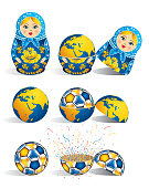Matryoshka in blue color with a planet inside and inside the world there is soccer ball and inside the ball there is explosion of confetti. Matryoshka doll also known as a Russian nesting doll is a set of wooden dolls of decreasing size
