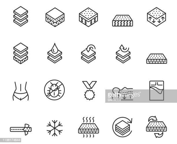 mattress line icon set - mattress stock illustrations, clip art, cartoons, & icons