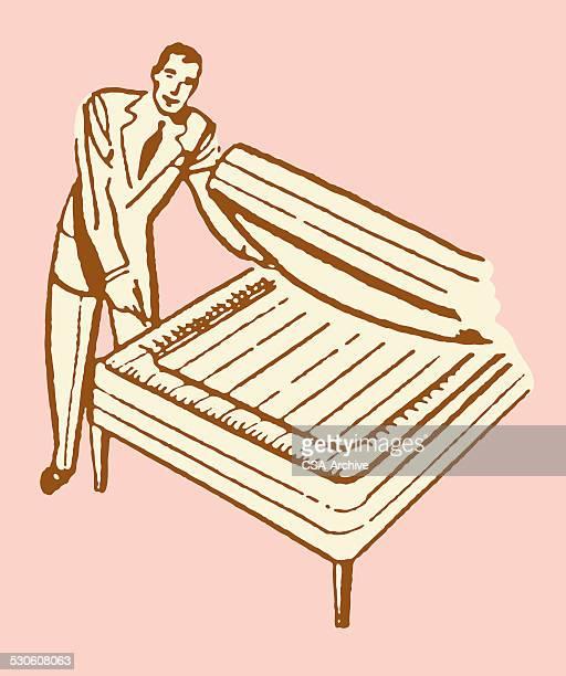 mattress salesman - mattress stock illustrations, clip art, cartoons, & icons