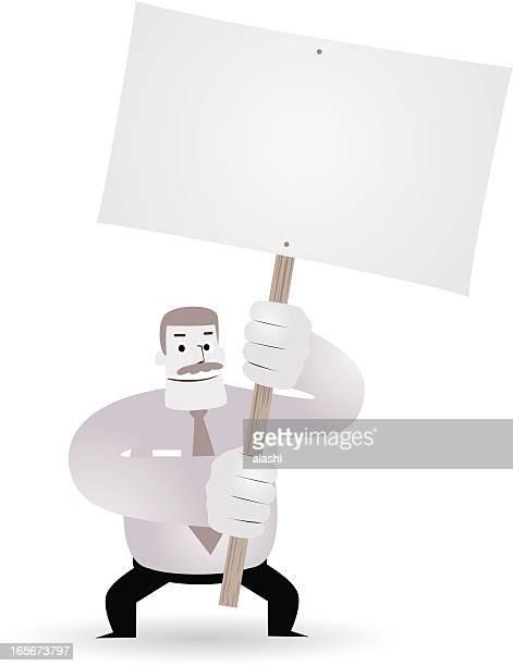 mature businessman( teacher, boss ) holding a blank sign(message) - family fighting cartoon stock illustrations