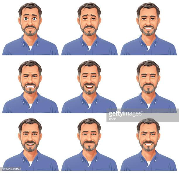 mature man with beard portrait- emotions - only men stock illustrations