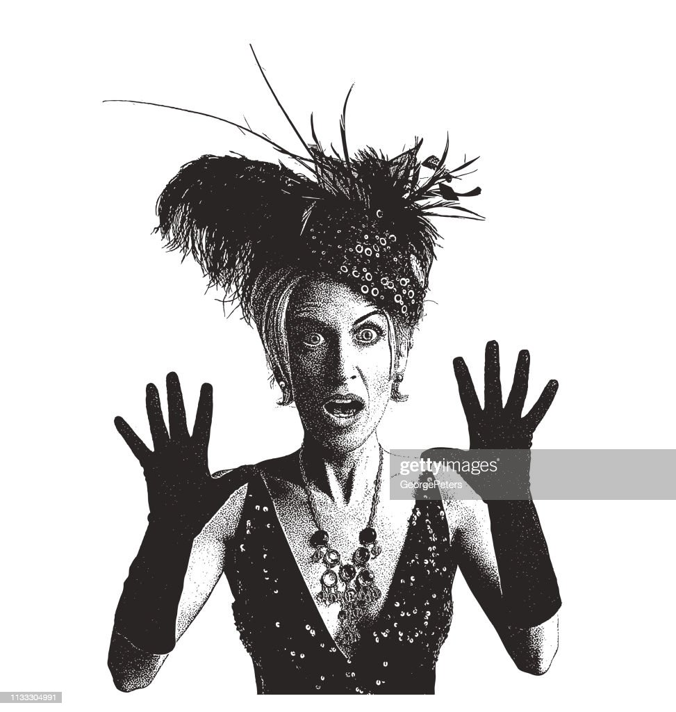 Mature woman with shocked expression : stock illustration