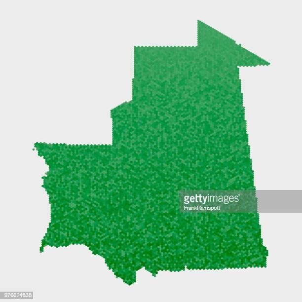 Mauretanien-Land-Map-grünen Sechseck-Muster
