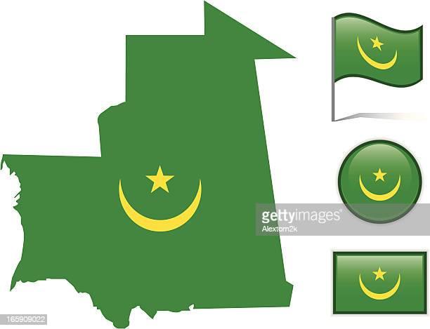 Mauritania map & flag