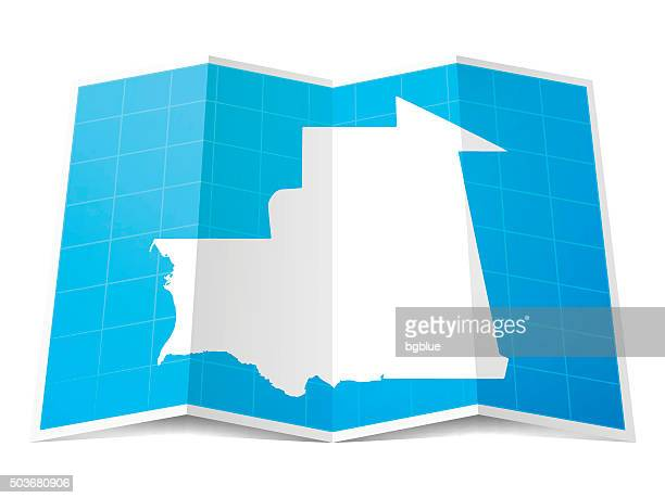 Mauritania Map folded, isolated on white Background