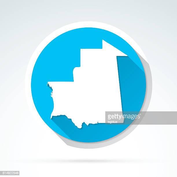 Mauritania map icon, Flat Design, Long Shadow