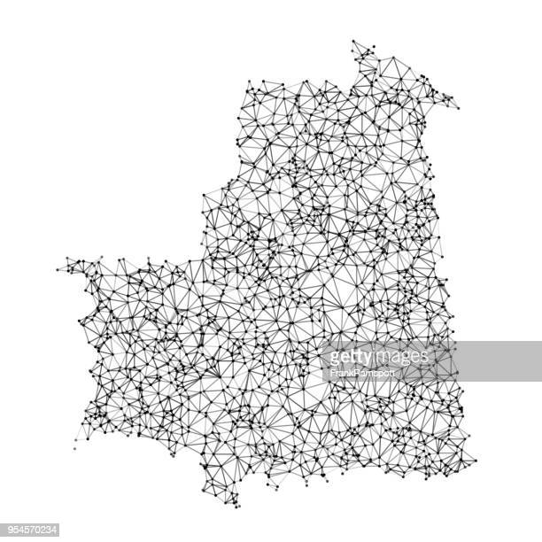 Mauritania Map Network Black And White