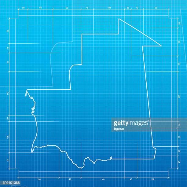 Mauritania map on blueprint background