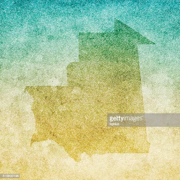 Mauritania Map on grunge Canvas Background
