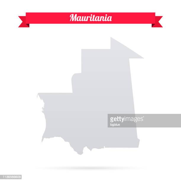 Mauritania map on white background with red banner