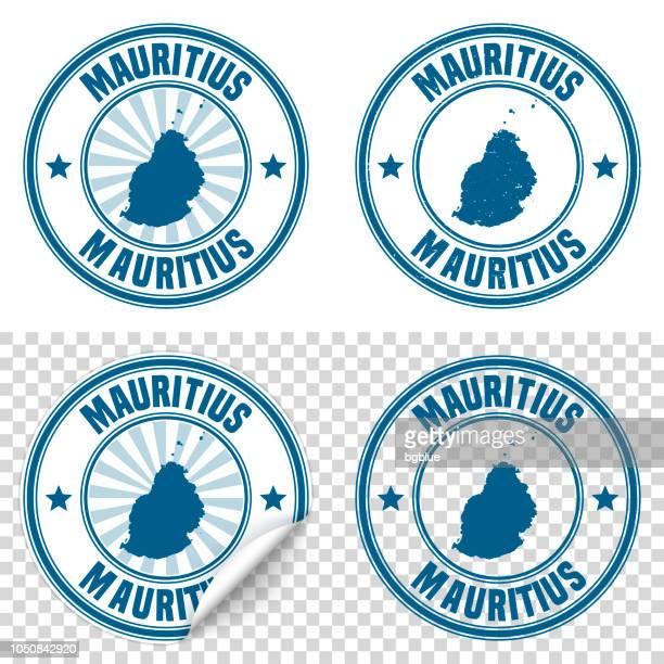 ilustrações, clipart, desenhos animados e ícones de maurícia - autocolante azul e carimbo com nome e mapa - ilhas maurício
