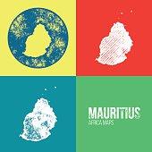 Mauritius Grunge Retro Maps - Africa
