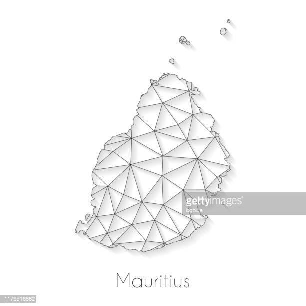 ilustrações, clipart, desenhos animados e ícones de conexão do mapa de maurícia-engranzamento da rede no fundo branco - ilhas maurício