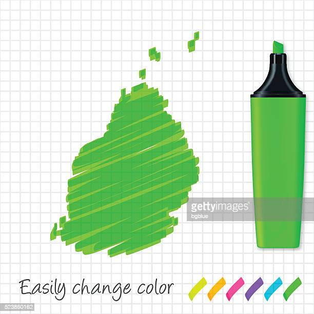 ilustrações, clipart, desenhos animados e ícones de maurício mapa desenhado à mão na grade papel, marcador verde - ilhas maurício