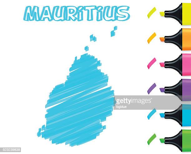 Mauritius map hand drawn on white background, blue highlighter