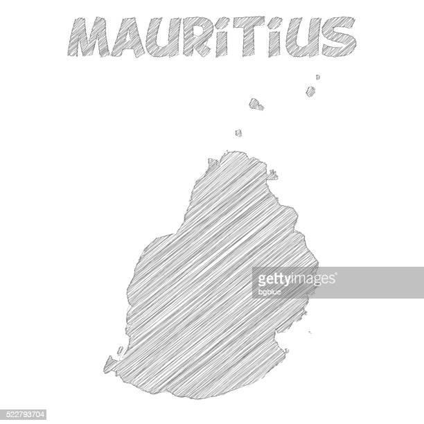 ilustrações, clipart, desenhos animados e ícones de maurício mapa de desenho à mão no fundo branco - ilhas maurício