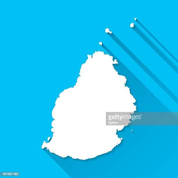 ilustrações, clipart, desenhos animados e ícones de maurício mapa em fundo azul, longa sombra, design 2d - ilhas maurício
