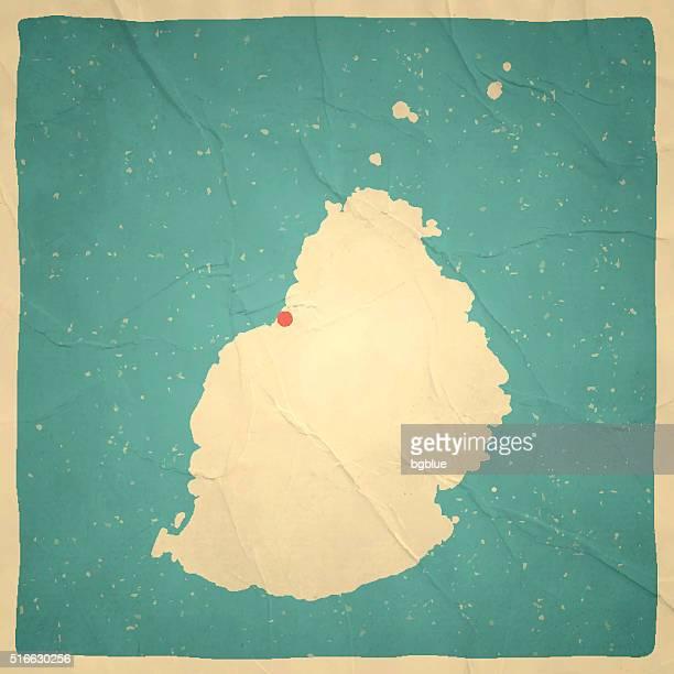 ilustrações, clipart, desenhos animados e ícones de maurício mapa na textura de papel vintage velho - ilhas maurício