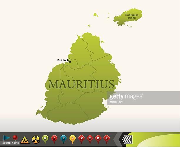 ilustrações, clipart, desenhos animados e ícones de maurício mapa com ícones de navegação - ilhas maurício