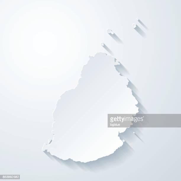 ilustrações, clipart, desenhos animados e ícones de mapa de maurícia com papel corta efeito no fundo em branco - ilhas maurício