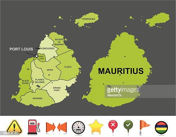 ilustrações, clipart, desenhos animados e ícones de maurício de navegação mapa - ilhas maurício