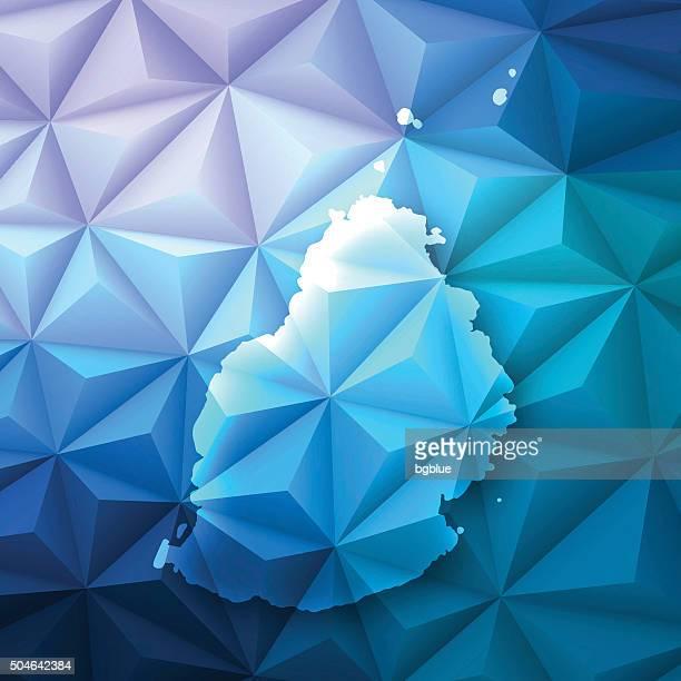 ilustrações, clipart, desenhos animados e ícones de maurício em fundo abstrato polygonal-baixa, geométrica superleve poly - ilhas maurício