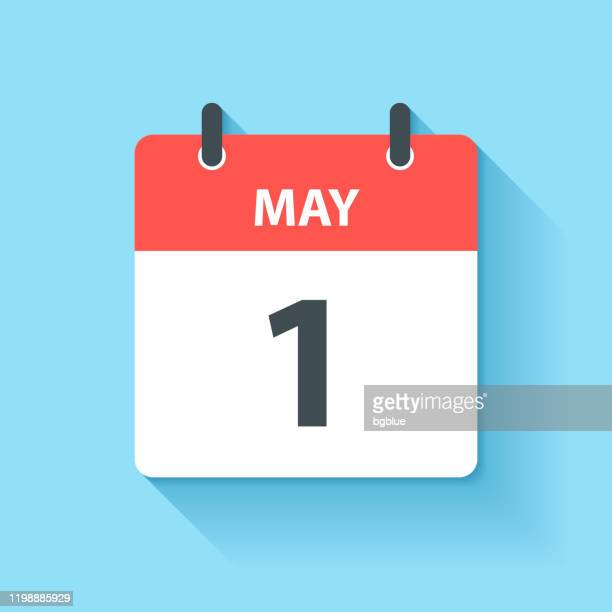 may 1 - daily calendar icon in flat design style - may day international workers day stock illustrations